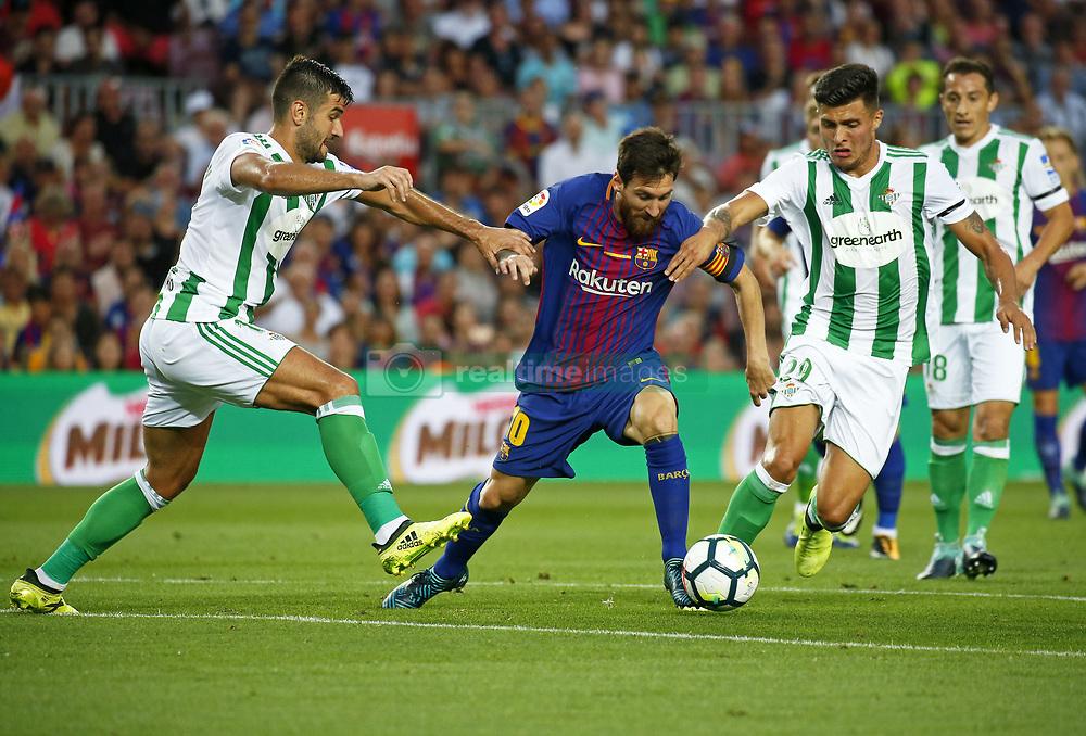 August 20, 2017 - Barcelona, Spain - Leo Messi, Barragan and Narvaez during La Liga match between F.C. Barcelona v Alaves, in Barcelona, on September 10, 2016. Photo: Edi Capmany/Urbanandsport/Nurphoto  (Credit Image: © Urbanandsport/NurPhoto via ZUMA Press)