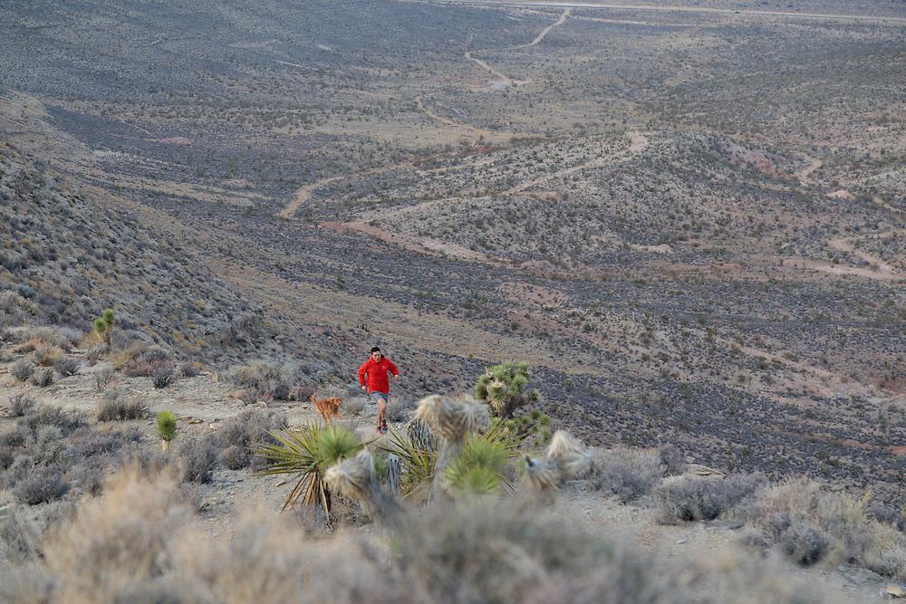Tim Banfield trail running Goat Roper near Red Rock Canyon Conservation Area, Las Vegas, Nevada