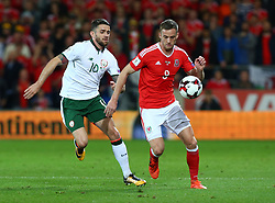 October 9, 2017 - Cardiff City, Walles, United Kingdom - L-R Robbie Brady of Republic of Ireland  and Andy King of Wales.during FIFA World Cup group qualifier match between Wales and Republic of Ireland at the Cardiff City Stadium, Cardiff, Wales on 9 October 2017. (Credit Image: © Kieran Galvin/NurPhoto via ZUMA Press)