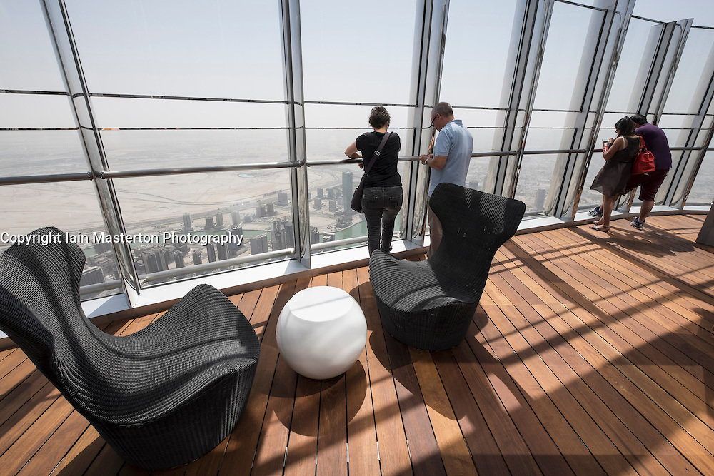 Dubai, United Arab Emirates. 15th October, 2014;  The world's highest public outdoor observation deck opened today in the Burj Khalifa tower in Dubai. At level 148 in the tower and at a height of 555m, At the Top Sky is 23 floors higher than the existing observation deck and offers visitors special VIP lounges during the visit.