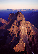 Aerial view of the granite spire of Tombstone Mountain, Tombstone Territorial Park, Yukon Territory, Canada.