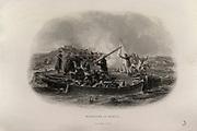 'Crimean War, Russo-Turkish War 1853-1856: Massacre of British sailors returning prisoners under truce, ambushed and killed by Russians, 20 June 1855.. Hango (Hanko), south coast of Finalnd.  Engraving.'