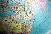 Middle East map on a globe focused on Saudi Arabia
