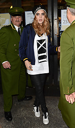 Cara Delevingne arriving at Harrods as part of a day long DKNY Promotion, London.