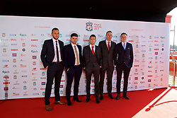 LIVERPOOL, ENGLAND - Tuesday, May 9, 2017: Liverpool FC's Ladies manager Scott Rogers [C] arrives with his staff on the red carpet for the Liverpool FC Players' Awards 2017 at Anfield. L-R Joe Potts, Alan Jordan, Scott Rogers, xxxx, Jordan Whelan. (Pic by David Rawcliffe/Propaganda)
