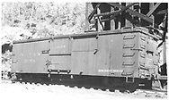 """Box car #3298 at Ophir, CO.<br /> D&RGW  Ophir, CO  Taken by Vollrath, Harold K. - 9/1946<br /> In book """"Narrow Gauge Pictorial, Vol. III: Gondolas, Boxcars and Flatcars of the D&RGW"""" page 123"""