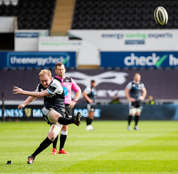 Luke Price of Ospreys converts<br /> <br /> Photographer Simon King/Replay Images<br /> <br /> Guinness PRO14 Round 18 - Ospreys v Dragons - Saturday 23rd March 2019 - Liberty Stadium - Swansea<br /> <br /> World Copyright © Replay Images . All rights reserved. info@replayimages.co.uk - http://replayimages.co.uk