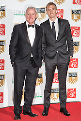 © Licensed to London News Pictures . 27/03/2014 . Manchester , UK . Jim White and Darren Fletcher arrive at a gala dinner at Manchester United Football Club in support of United for Colitis , in aid of Crohn's And Colitis UK . Photo credit : LNP