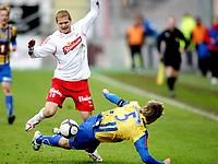 Fotball , <br /> Adeccoligaen , <br /> Fredrikstad Stadion , <br /> 04.04.2010 , <br /> Fredrikstad v Alta , <br /> Mattias Andersson mot Thomas Braaten ,<br /> Foto: Thomas Andersen / Digitalsport ,