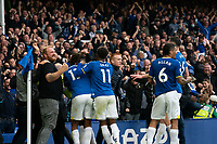 Football - 2021 / 2022 Premier League - Everton vs Southampton - Goodison Park - Saturday 14th August 2021.<br /> <br /> <br /> Everton's Abdoulaye Doucoure  celebrates scoring his sides second goal with pitch invaders<br /> <br /> <br /> Credit COLORSPORT/Terry Donnelly