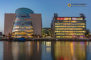 Convention Centre over the River Liffey at dusk in downtown Dublin, Ireland