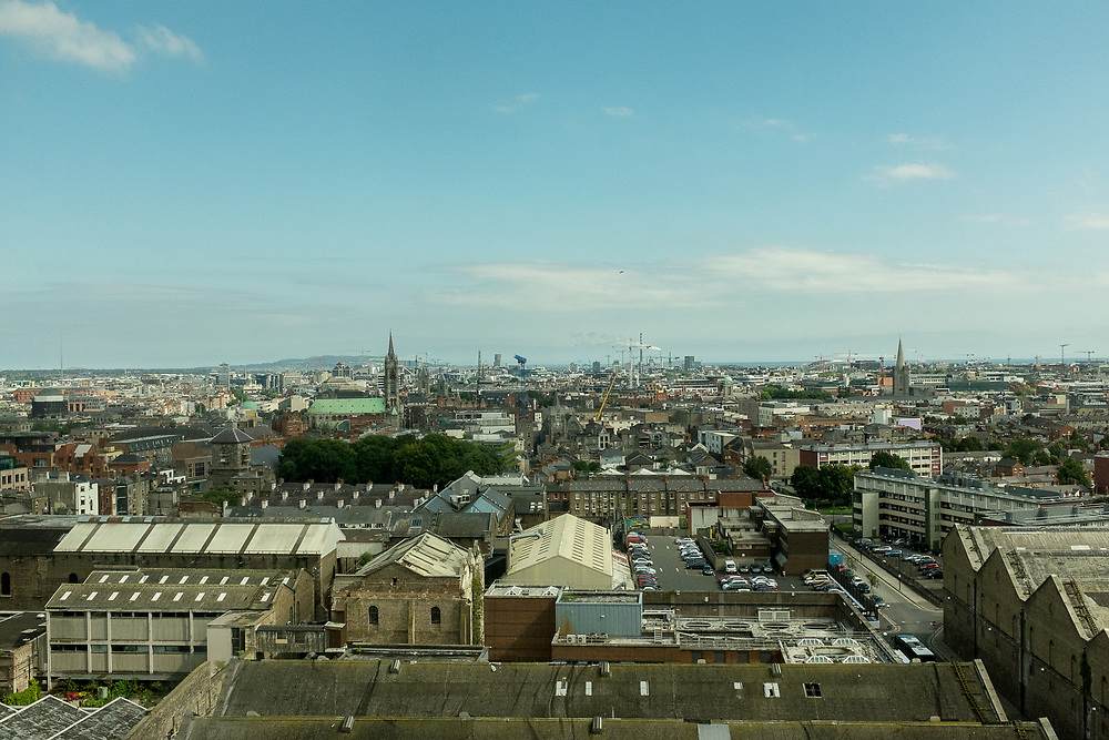 View of Dublin from atop the Guinness Brewery, Dublin, Ireland.