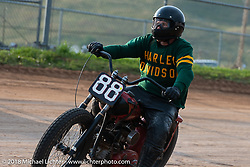 Custom bike builder and vintage bike racer Jeff Leighton at the Spirit of Sturgis antique motorcycle flat track race at the historic Sturgis Half Mile during the 78th annual Sturgis Motorcycle Rally. Sturgis, SD. USA. Monday August 6, 2018. Photography ©2018 Michael Lichter.