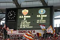 """Fotball<br /> Italia<br /> Foto: Inside/Digitalsport<br /> NORWAY ONLY<br /> <br /> Il tabellone dello stadio olimpico con risultato e marcatori<br /> Olimpico scoreboard<br /> <br /> Italy """"Tim Cup"""" 2006-07<br /> 09 May 2007 (Final 1st Leg)<br /> Roma v Inter (6-2)"""