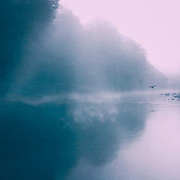 Misty morning on a river with reflection of a forest and sun breaking through the mist - colorized photograph<br /> Society6 prints: http://bit.ly/2h0N4Is