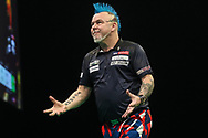 Peter Wright during the Unibet Premier League darts at Motorpoint Arena, Cardiff, Wales on 20 February 2020.