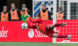 March 10, 2018 - Foxborough, Massachusetts, USA - Foxborough, Massachusetts - March 10, 2018: In a Major League Soccer (MLS) match, New England Revolution (blue/white) defeated Colorado Rapids (yellow/blue), 2-1, at Gillette Stadium..Penalty kick save. (Credit Image: © Andrew Katsampes/ISIPhotos via ZUMA Wire)