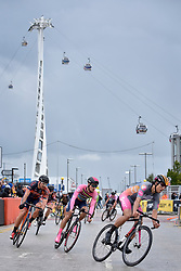© Licensed to London News Pictures. 22/07/2017. London, UK. World class cyclists take part in the London stage of the Red Hook Criterium around Greenwich Peninsula.  Heavy rain showers made riding laps around the 1km street circuit on fixed gear bicycles with no brakes even more of a challenge as riders negotiated multiple heats to try to qualify for an evening final. Photo credit : Stephen Chung/LNP