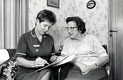 District nurse & elderly woman, Nottingham UK 1991