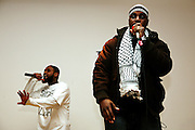 Cataclysm, (left), form the duo 'Blind Alphabetz', and Abdur Raheem, (right) another Hip Hop artist, are performing together at SOAS University in London, England, on Wednesday, Jan. 31, 2007. Islamic Hip Hop artists like the duo 'Blind Alphabetz', from London, feel more than ever the need to say what they think aloud. In the music industry the backlash of a disputable Western foreign policy towards Islamic countries and its people is strong. The number of artists in the European Union and the US taking this into consideration and addressing the current social and political problems within their lyrics is growing rapidly and fostering awareness for Muslim and others alike.