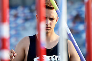 Poland, Radom - 2020 September 12: Eryk Kolodziejczak (LUKS Start Naklo) from Poland competes in men's javelin while 74. PZLA Athletics Polish Championships U20 - Radom 2020 - Day#2 during pandemic COVID-19 at MOSiR Stadium on September 12, 2020 in Radom, Poland.<br /> <br /> Mandatory credit:<br /> Photo by © Adam Nurkiewicz<br /> <br /> <br /> Adam Nurkiewicz declares that he has no rights to the image of people at the photographs of his authorship.<br /> <br /> Picture also available in RAW (NEF) or TIFF format on special request.<br /> <br /> Any editorial, commercial or promotional use requires written permission from the author of image. Single publication only for informational, journalistic or documentary purposes inside a newspaper, magazine or book (digital versions allowed). One edition on the territory of one country. Resale is forbidden.<br /> <br /> Image can be used in the press when the method of use and the signature does not hurt people on the picture.
