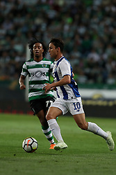 April 18, 2018 - Lisbon, Portugal - Porto's Spanish midfielder Oliver Torres (R ) vies with Sporting's forward Gelson Martins from Portugal during the Portugal Cup semifinal second leg football match Sporting CP vs FC Porto at the Alvalade stadium in Lisbon on April 18, 2018. (Credit Image: © Pedro Fiuza via ZUMA Wire)