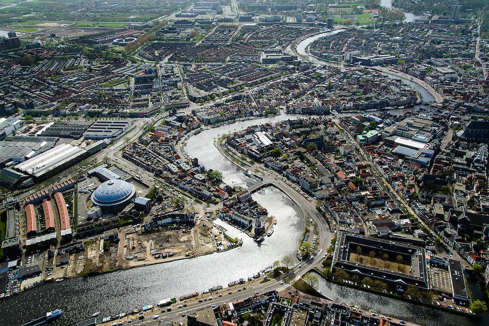Nederland, Noord-Holland, Haarlem, 09-04-2014; Koepelgevangenis en Spaarne.<br /> Prison and river Spaarne.<br /> luchtfoto (toeslag op standard tarieven);<br /> aerial photo (additional fee required);<br /> copyright foto/photo Siebe Swart