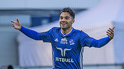 Rezan Corlu (Lyngby Boldklub) jubler efter scoringen til 2-1 under kampen i 3F Superligaen mellem Lyngby Boldklub og Hobro IK den 20. juli 2020 på Lyngby Stadion (Foto: Claus Birch).