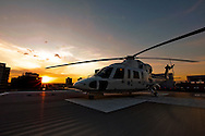 Philadelphia, Pennsylvania - MidAtlantic MedEvac's Sikorsky S-76 on  the helipad on the roof of The Childrens Hospital of Philadelphia.
