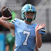 ORLANDO, FL - OCTOBER 24: Quarterback Michael Pratt #7 of the Tulane Green Wave throws a pass during pregame at Bounce House-FBC Mortgage Field on October 24, 2020 in Orlando, Florida. (Photo by Alex Menendez/Getty Images) *** Local Caption *** Michael Pratt