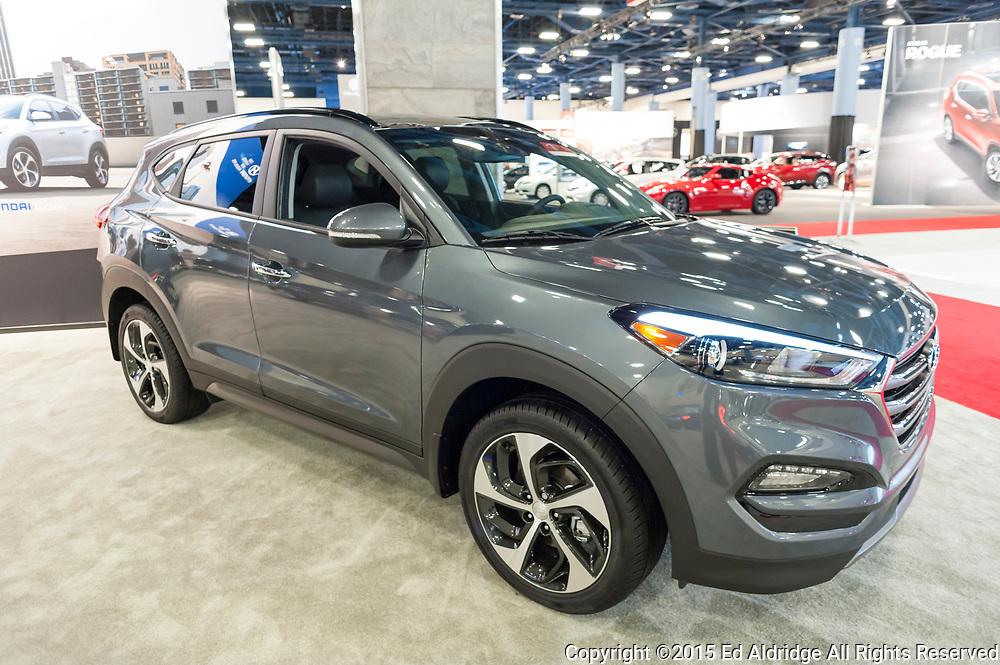 MIAMI BEACH, FL, USA - NOVEMBER 6, 2015: Hyundai Tucson on display during the 2015 Miami International Auto Show at the Miami Beach Convention Center in downtown Miami Beach.