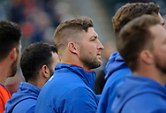 Syracuse Mets outfielder Tim Tebow stands in the dugout during a game against the Lehigh Valley IronPigs on April 29, 2019, at Coca-Cola-Park in Allentown, Pennsylvania. (Photo by Matt Smith)