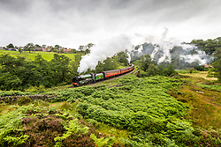 """© Licensed to London News Pictures. 05/08/2020. Goathland UK. Locomotive SR 926 """"Repton"""" travels through Goathland on the North Yorkshire Moors Railway on route from Grosmont to Pickering in North Yorkshire this morning. The North Yorkshire Moors railway began operating this week after months of closure due to the Covid-19 outbreak. Photo credit: Andrew McCaren/LNP"""