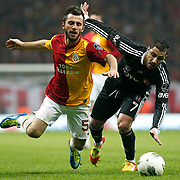 Galatasaray's Emre Colak (L) and Besiktas's Ricardo Quaresma Action picture during their Turkish superleague soccer derby match Galatasaray between Besiktas at the TT Arena at Seyrantepe in Istanbul Turkey on Sunday, 26 February 2012. Photo by TURKPIX