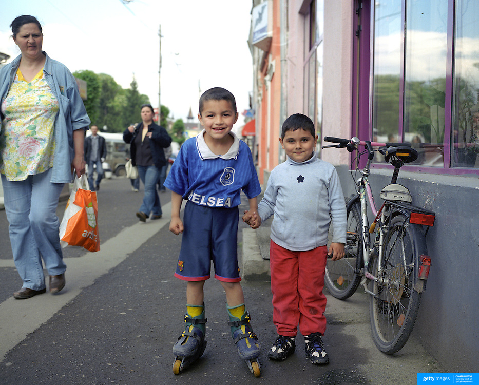 Young boys in Transylvania, Romania. 23rd July 2011. Photo Tim Clayton