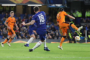 Olivier Giroud of Chelsea (18) scoring goal to make it 1-0 during the Champions League group stage match between Chelsea and PAOK Salonica at Stamford Bridge, London, England on 29 November 2018.