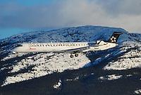 Bombardier CRJ-705 Regional Jet in Star Alliance livery on approach into Whitehorse, Yukon.