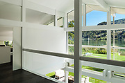 Architecture, interior of a modern house, garden view