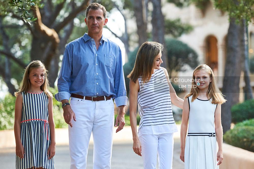 King Felipe VI of Spain, Crown Princess Leonor, Queen Letizia of Spain, Princess Sofia pose for the photographers at the Marivent Palace on August 4, 2016 in Palma de Mallorca, Spain.