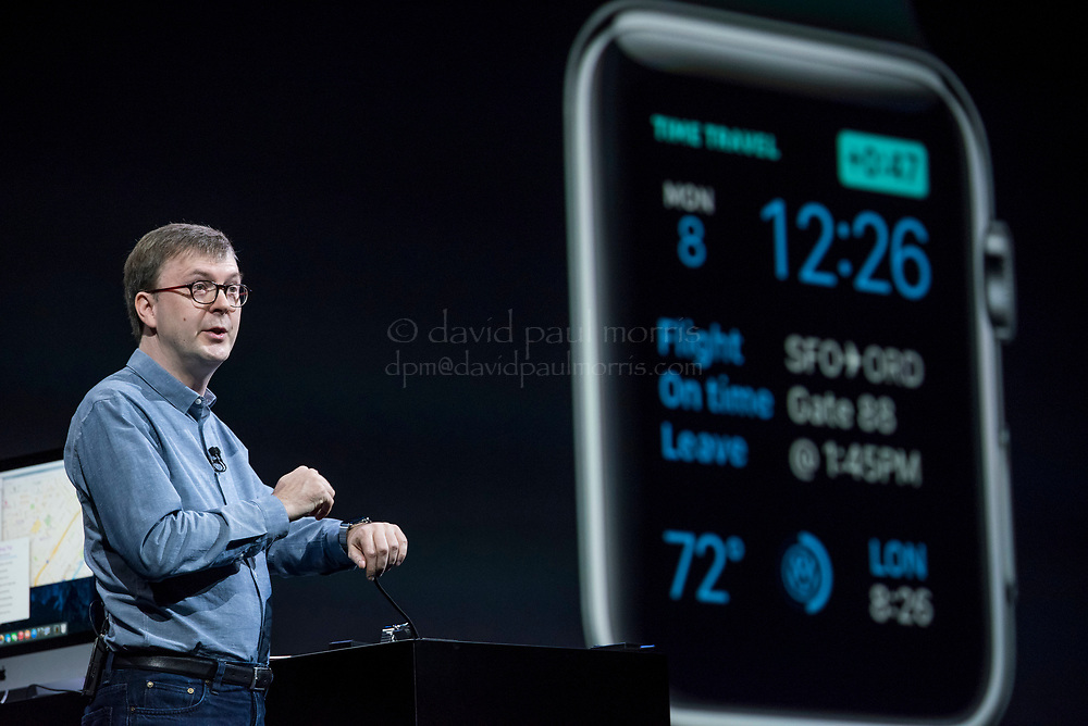 Kevin Lynch, vice president of technology for Apple Inc., speaks during the Apple World Wide Developers Conference (WWDC) in San Francisco, California, U.S., on Monday, June 8, 2015. Apple Inc., the maker of iPhones and iPads, will introduce software improvements for its computer and mobile devices as well as reveal new updates, including the introduction of a revamped streaming music service. Photographer: David Paul Morris/Bloomberg *** Local Caption *** Kevin Lynch