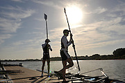 Reading, GREAT BRITIAN, GBR LM2X, left Zac PURCAHSE and mark HUNTER on the dock, British Olympic Association, BOA, 2008 Beijing Olympic Rowing Team Announcement for 2008 Beijing Olympic Games, CHINA. .Redgrave and  Pinsent Rowing Lake, Caversham Training Centre, on Thursday, 26/06/2008. [Mandatory Credit:  Peter SPURRIER / Intersport Images] Rowing course: GB Rowing Training Complex, Redgrave Pinsent Lake, Caversham, Reading , Sunrise, Sunsets, Silhouettes