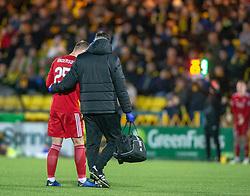 Aberdeen's Bruce Anderson injured. Livingston 1 v 2 Aberdeen, SPFL Ladbrokes Premiership played 29/1/2018 at Livingston home ground, Tony Macaroni Arena.