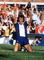 Fotball<br /> England <br /> Foto: Colorsport/Digitalsport<br /> NORWAY ONLY<br /> <br /> Trevor Francis (Birmingham City) celebrates his goal. Birmingham City v Burnley. 20/9/75