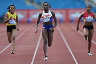 Daryll Neita running during the 100m heat race.The British Championships 2016, athletics event at the Alexander Stadium in Birmingham, Midlands  on Friday 24th June 2016.<br /> pic by John Patrick Fletcher, Andrew Orchard sports photography.