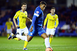 Peterborough United's Nathaniel Mendez-Laing scores to make it 2-0 - Photo mandatory by-line: Joe Dent/JMP - Tel: Mobile: 07966 386802 09/11/2013 - SPORT - FOOTBALL - London Road Stadium - Peterborough - Peterborough United v Exeter City - FA Cup - First Round
