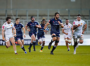 Sale Sharks lock Lood De Jager makes a break during a Gallagher Premiership Round 11 Rugby Union match, Friday, Feb 26, 2021, in Eccles, United Kingdom. (Steve Flynn/Image of Sport)