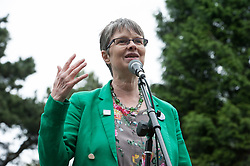 """© Licensed to London News Pictures. 20/02/2019. Bristol, UK. File picture dated 27/05/2017 of MOLLY SCOTT CATO, Green MEP for South West England who is one of 3 Green Party MEPs arrested today in Brussels among a group which also includes Belgian peace activists who scaled the wall of an airbase that stockpiles US weapons and blocked the runway which houses F16 bombers in a protest. Molly Scott Cato posted on her Twitter account: """"I have been arrested for breaking into a Belgian military airbase to protest against the stockpiling of American nuclear bombs."""" Photo credit: Simon Chapman/LNP"""
