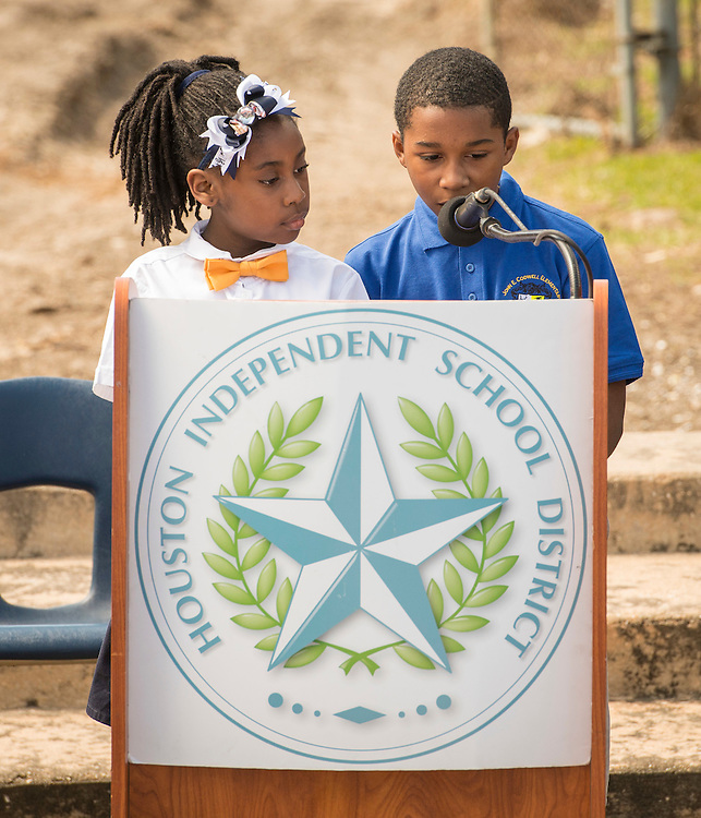 Nia Stuart and Darveon Denton comment during a groundbreaking ceremony at Codwell Elementary School, March 3, 2017.