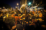 Anti Nato protesters lines up against the police during a unpermited march in Chicago, IL,  May 19th 2012.