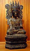 Buddha Maravijaya trimmed. Qualifier winner of the Buddha by the demon of temptation and death, Mara, and managed to attain enlightenment. 18th century, 19th century lacquered sculpture from Myanmar